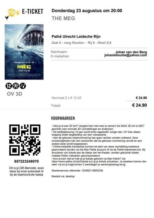 Movie tickets collection list